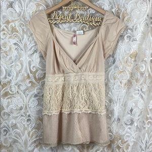 Heart Soul Large Tan Beige vintage lace blouse